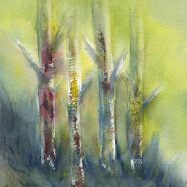 Frank Bright - Birch Trees In Sunlight Abstract