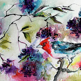 Ginette Callaway - Bird In Elderberry Bush Watercolor
