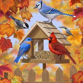 Crista Forest - Bird Painting - Autumn Aquaintances