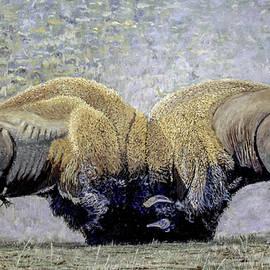 Manuel Lopez - Bison Fight Original Oil Painting 60x36x1.5 inch