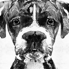 Sharon Cummings - Black And White Boxer Dog Art By Sharon Cummings