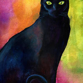 Svetlana Novikova - Black cat 9 watercolor painting