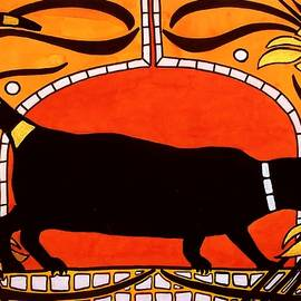 Dora Hathazi Mendes - Black Cat with floral motif of Art Nouveau by Dora Hathazi Mendes