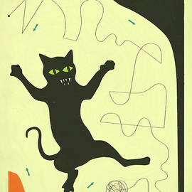 BLACK CAT WITH STRING - Jazzberry Blue