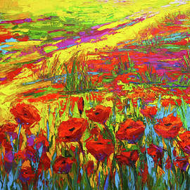 Patricia Awapara - Blanket of Joy Modern Impressionistic oil painting of Poppy Flower Field