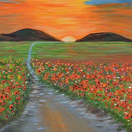Kathy  Symonds - Blazing Sunset- Poppy Field- Landscape painting