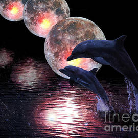 Sandra Selle Rodriguez - Dolphins in the moonlight