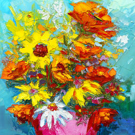 Patricia Awapara - Blooms Delight Floral Arrangement impressionistic art oil painting palette knife