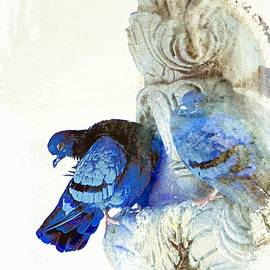 Sue Jacobi - Blue Abstract Exotic Travel Pigeons in Palaces India Rajasthan 5a