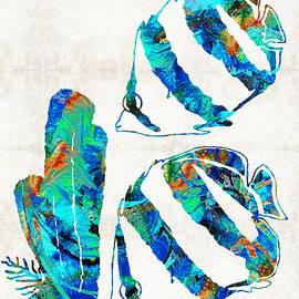 Sharon Cummings - Blue Angels Fish Art by Sharon Cummings