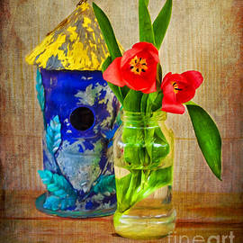 Anna Surface - Blue Birdhouse and Red Tulips 1