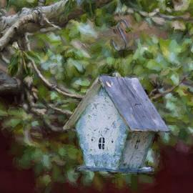 Blue Birdhouse Painterly Effect - Carol Leigh