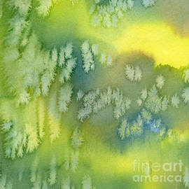 Sharon Freeman - Blue Green and Yellow Abstract Watercolor Design 1