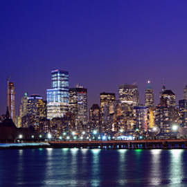 Raymond Salani III - Blue Hour Panorama New York World Trade Center with Freedom Tower from Liberty State Park