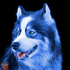 Blue Modern Siberian Husky Dog Art - 6024 - BB