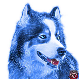 Blue Modern Siberian Husky Dog Art - 6024 - WB