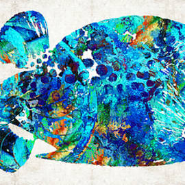 Sharon Cummings - Blue Puffer Fish Art by Sharon Cummings