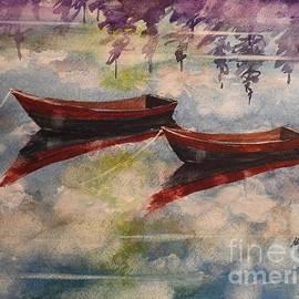 David K Myers - Boat Reflections Watercolor Painting