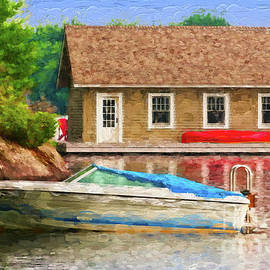 Les Palenik - Boathouse with red canoe - painterly