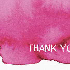Bold Pink and White Watercolor Thank You- Art by Linda Woods - Linda Woods