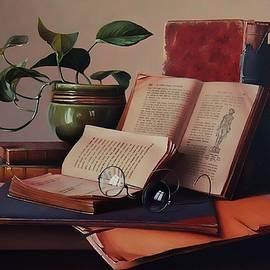 Aniko Vida - Books and a plant