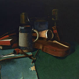 Books, Mug, Pipe and Violin - John Frederick Peto