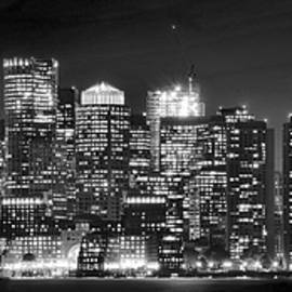 Frozen in Time Fine Art Photography - Boston Harbor Panorama in Black and White