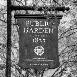 Joann Vitali - Boston Public Garden Sign Black and White