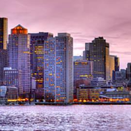 Jon Holiday - Boston Skyline at DUSK Color Panorama Pano