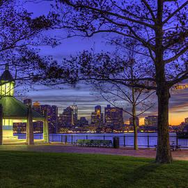 Joann Vitali - Boston Skyline at Night with Gazebo