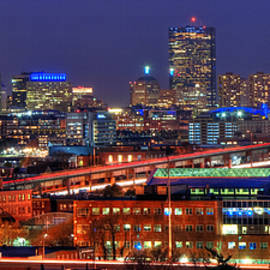 Joann Vitali - Boston Skyline Panoramic at Night