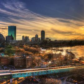Boston Skyline Sunset and the Redline