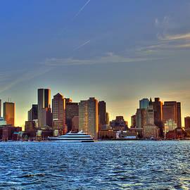 Joann Vitali - Boston Skyline Sunset from Boston Harbor