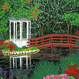 Baslee Troutman - Botanical Garden Park Walk Pink Azaleas Bridge Gazebo Flowering Trees Pond