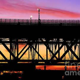 Kaye Menner - Bridge Sunset Silhouette by Kaye Menner
