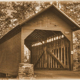 Michael Mazaika - Bridge to the Past - Roddy Road Covered Bridge Over Owens Creek-A1 Sepia Frederick County Maryland