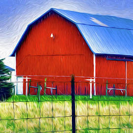 William Sturgell - Bright Red Barn with Barbwire Fence