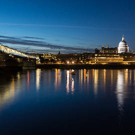 Georgia Mizuleva - British Symbols and Landmarks - Silky Reflections Saint Paul Cathedral and Blackfriars Bridge