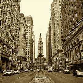 Bill Cannon - Broad Street Facing Philadelphia City Hall in Sepia