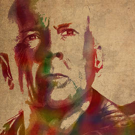 Bruce Willis Watercolor Portrait Hollywood Actor on Worn Distressed Canvas - Design Turnpike