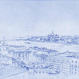 Kaleidoscopik Photography - Budapest Skyline - Blueprint Art