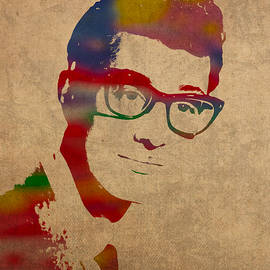 Buddy Holly Watercolor Portrait - Design Turnpike