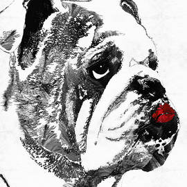 Sharon Cummings - Bulldog Pop Art - How Bout A Kiss 2 - By Sharon Cummings