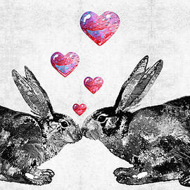 Sharon Cummings - Bunny Rabbit Art - Hopped Up On Love 2 - By Sharon Cummings