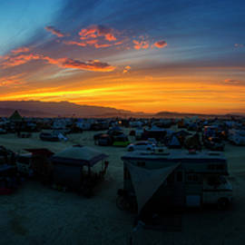 Burning Man Campsite Sunset Panorama - Pelo Blanco Photo