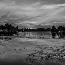 Yevhenii Volchenkov - BW Panoramic view on the sunset over river harbour in Ukraine