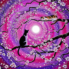 Laura Iverson - Calico and Tuxedo Cats in Swirling Sakura