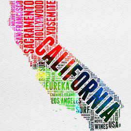 California Watercolor Word Map - Naxart Studio