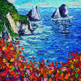 Ana Maria Edulescu - Capri Faraglioni 2 Italy Colors Modern Impressionist Palette Knife Oil Painting Ana Maria Edulescu