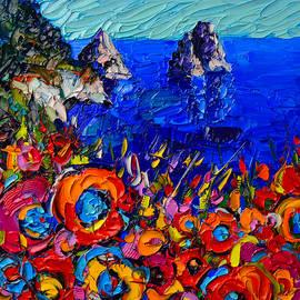 Ana Maria Edulescu - Capri Faraglioni Italy Colors Modern Impressionist Palette Knife Oil Painting By Ana Maria Edulescu